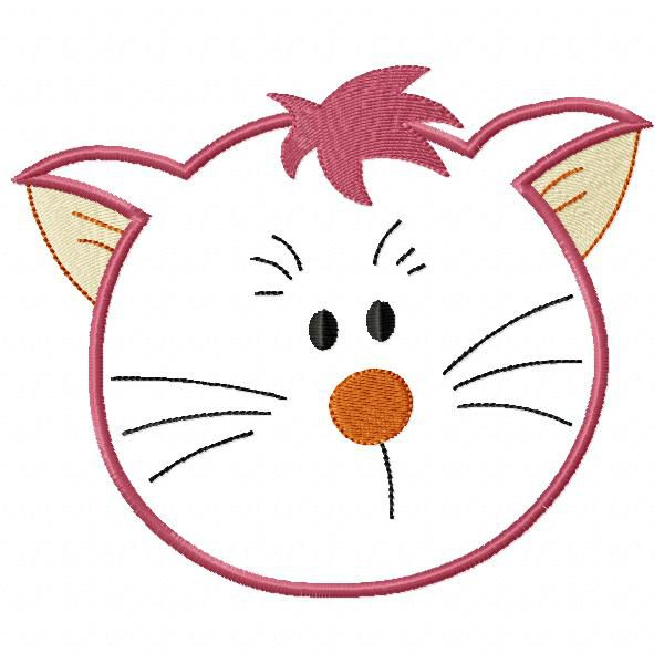 Cat Head Applied Free Embroidery Designs