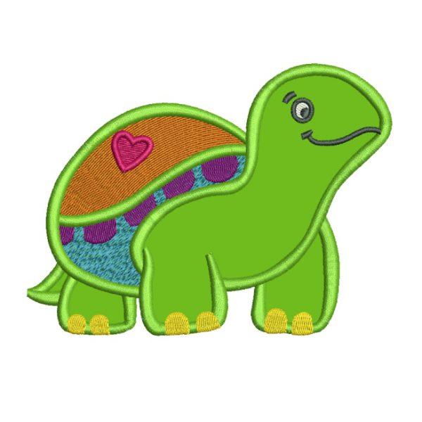 Diseño Bordado de tortuga con aplique - descargar gratis