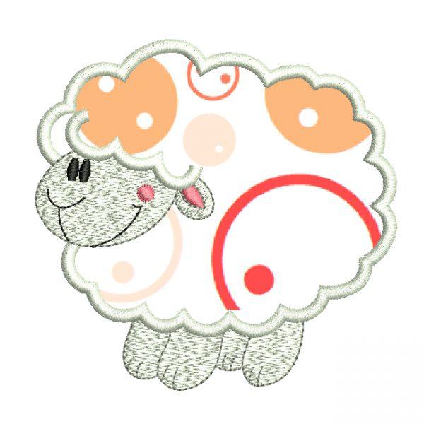 Diseño de bordado de oveja con aplique