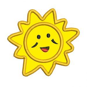 diseño bordado de sol con aplique
