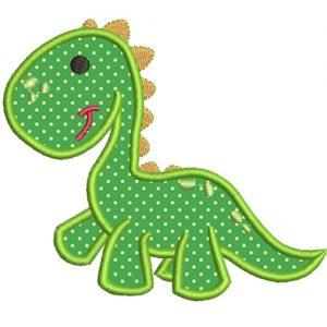 diseño de bordado de dinosario bebe con aplique