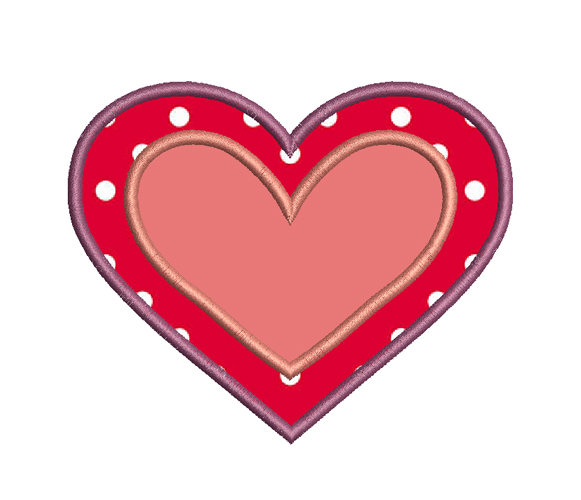 heart applique embroidery design