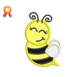 cute bee applique embroidery dresign