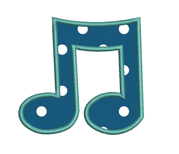 Musical Note Embroidery Design
