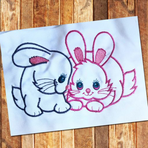 rabbits embroidery design