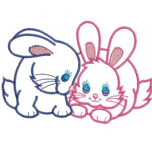 rabbits in love embroidery design