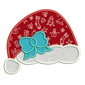 santa hat with bow embroidery dersign