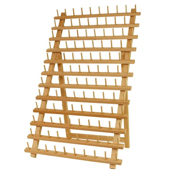 Premium Beechwood 120-Spool Sewing and Embroidery Thread Rack