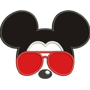 Mickey Mouse With Glasses Applique Embroidery Design