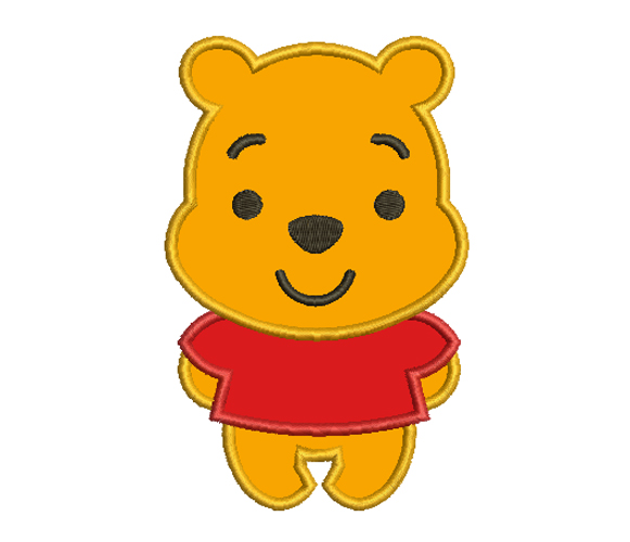 Mini Winnie Pooh Applique Embroidery Design
