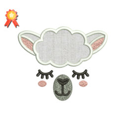 Sheep Face Applique Embroidery Design