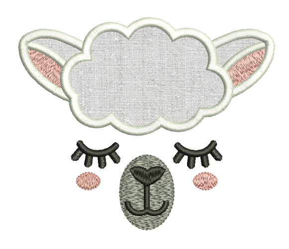Sheep Face Applique Embroidery Design