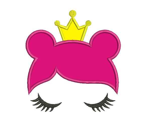 Princess Head Face Applique Embroidery Design