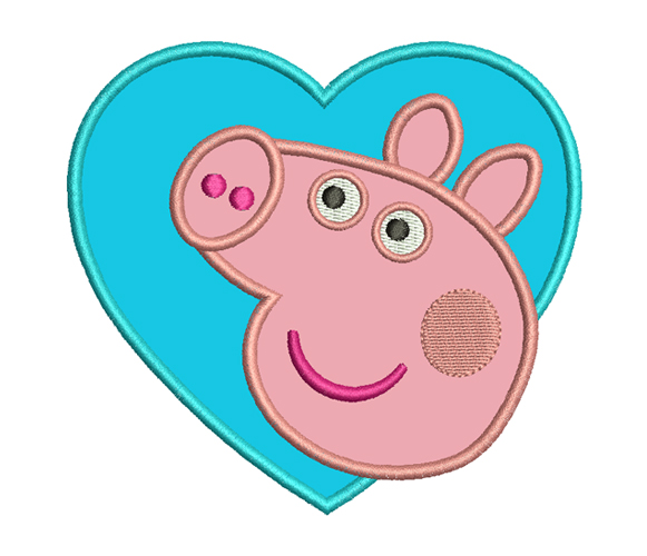 ▷ Peppa Pig - Heart | »»» Free Embroidery Designs «««