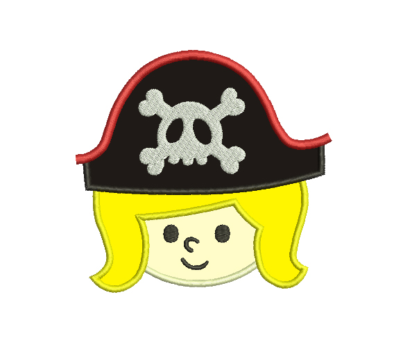 Pirate Boy Applique Embroidery Design