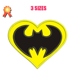 batman heart embroidery design