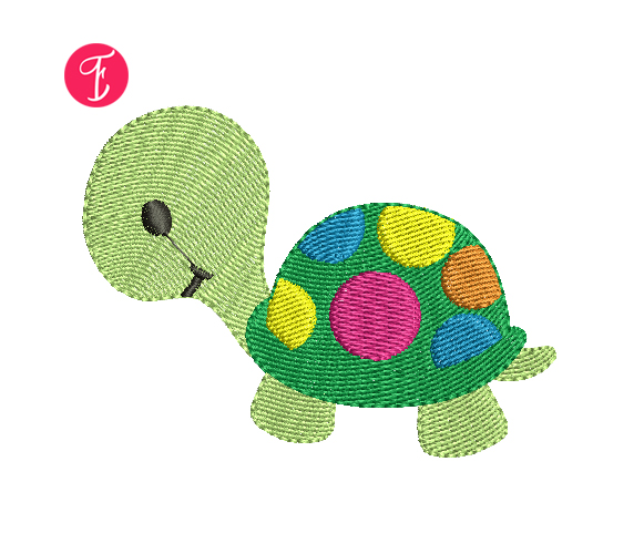 Turtle With Polka Dots embroidery design