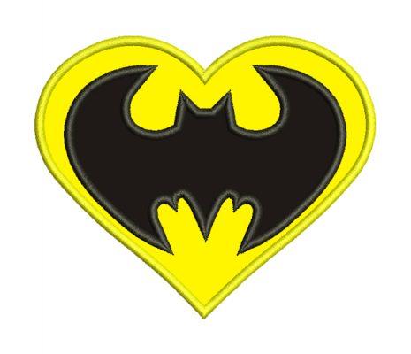 batman heart embroidery design