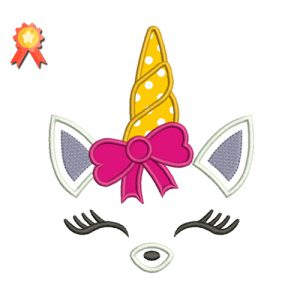 Unicorn With Bow Applique
