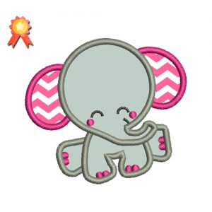 Baby Elephant With Applique Embroidery Design