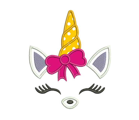 Unicorn With Bow Embroidery Design