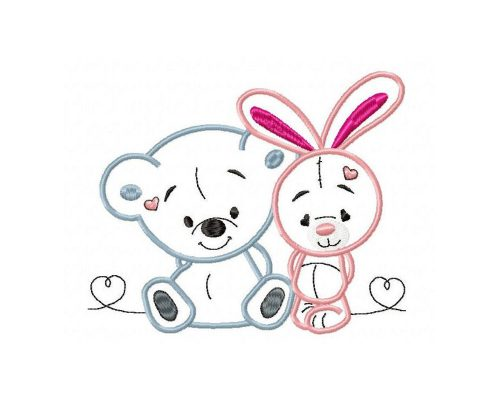 Bunny and bear Machine Embroidery Design