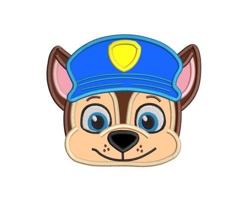 Chase Paw Patrol Head Applique
