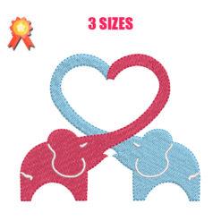 Elephant heart embroidery design