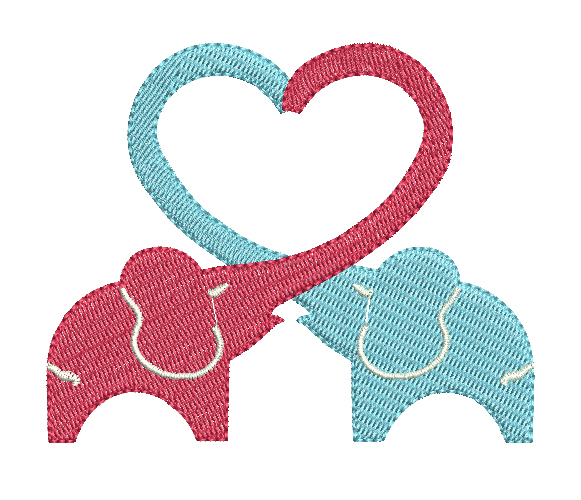 Elephant heart embroidery design