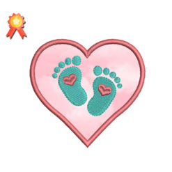 Baby Feet Embroidery Design Heart