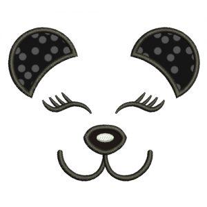 Panda Face Machine Embroidery Design