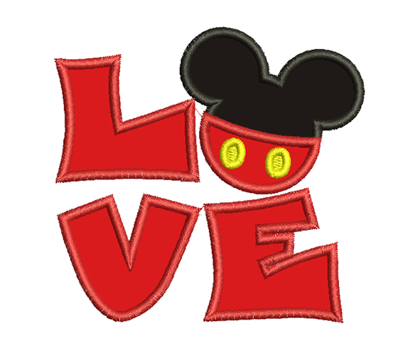 Love Mickey Mouse Machine Embroidery Design