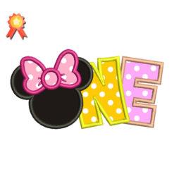 Minnie One Year Machine Embroidery Design