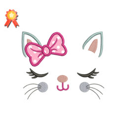 Kitty Cat With Bow Machine Embroidery Design