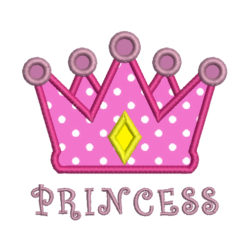 Princess and Crown Machine Embroidery Design