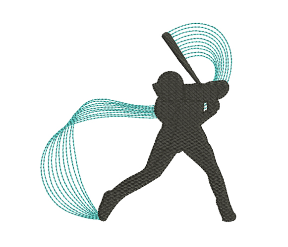 Baseball Player Machine Embroidery Design
