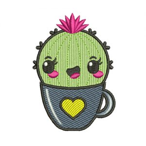 Cactus in the Cup Machine Embroidery Design