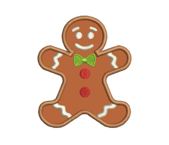 Gingerbread Man Machine Embroidery Design