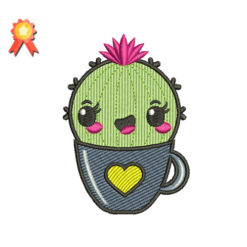 Cactus in the Cup Machine Embroidery Design. Includes following formats: DST, EXP, HUS, PES, JEF, SEW, XXX,VP3.