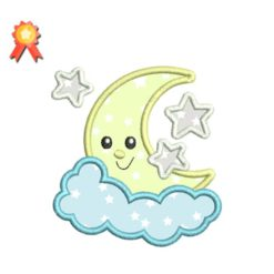 Moon and 3 Stars Awake Applique Machine Embroidery Design