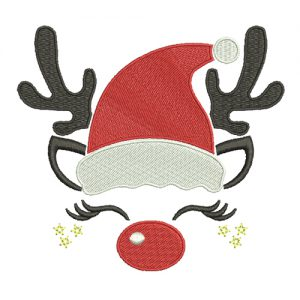 Reindeer With Santa Hat Machine Embroidery Design