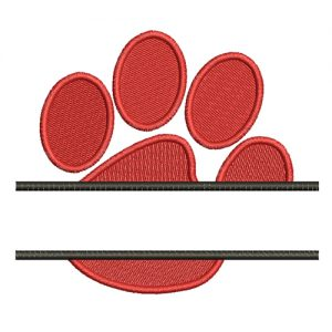Split Paw Print Machine Embroidery Design