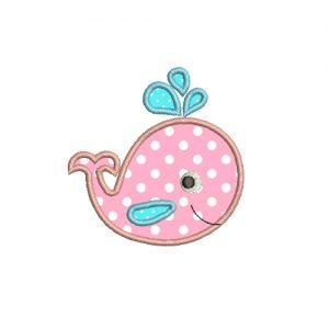 Applique Whale Baby Cute Machine Embroidery Design