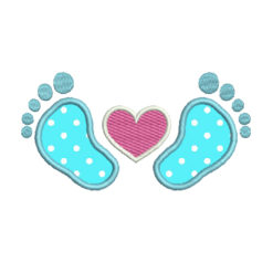 Baby Feet Applique Machine Embroidery Design