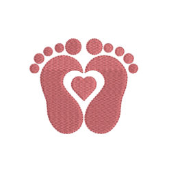Baby Feet With Heart Machine Embroidery Design