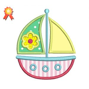 Cute Sailboat Machine Embroidery Design