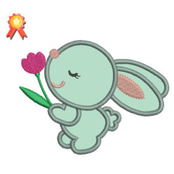 Easter Bunny Flower Applique Machine Embroidery Design