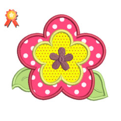 Flower With Applique Machine Embroidery Design
