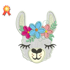 Llama Head With Shabby Chick Roses Machine Embroidery Design
