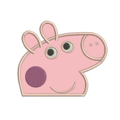 Peppa Pig Head Applique Machine Embroidery Design